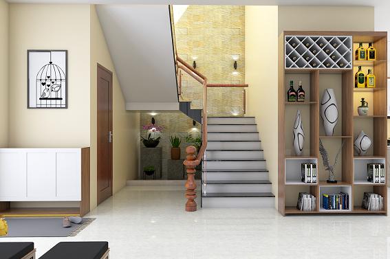 Cầu thang vách kính và trang trí họa tiết tạo điểm nhấn