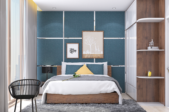 Phòng ngủ lớn được thiết kế đón gió biến qua tấm kính lớn