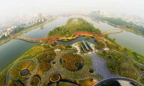 Bê tông thấm nước ở Thượng Hải chống lũ lụt