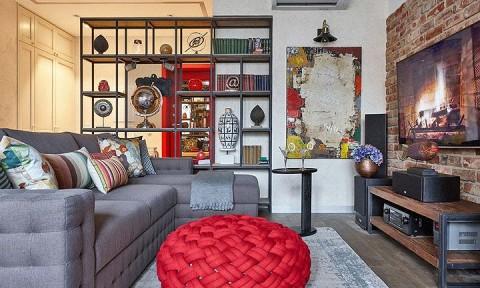 Độc đáo căn hộ 69 m2 với bức tường gạch thô, đầy màu sắc ấm áp