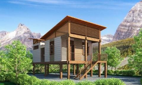 Thiết kế điển hình cho nhà ở trong vùng núi chịu ảnh hưởng của thiên tai
