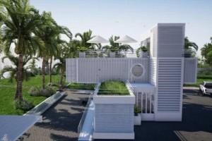 Tòa nhà văn phòng làm từ container sử dụng năng lượng mặt trời