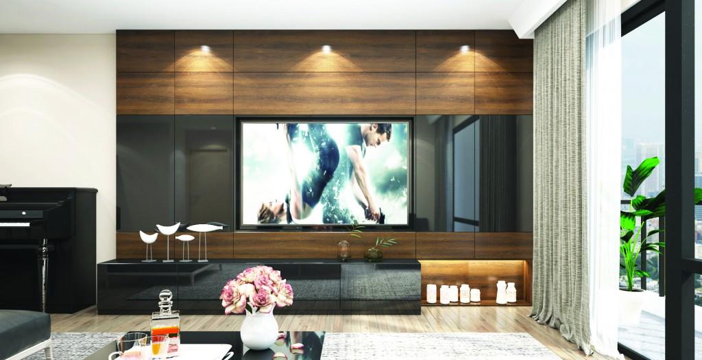 Bức tường kính được thay thế gioisp phòng khách đón tối đa ánh sáng từ thiên nhiên