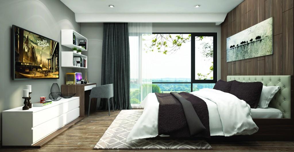 Hệ cửa kính rộng mở tận dụng ánh sáng và khí trời cho phòng ngủ chính