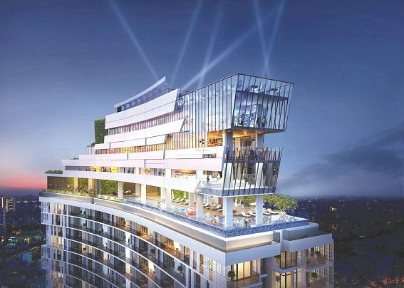 Thiết kế không  gian  dịch vụ tiện ích theo tiêu chuẩn khách sạn cao cấp tại tầng mái công trình Condotel