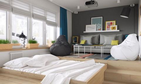 Căn hộ 34 m2 rộng rãi nhờ giấu giường dưới sàn nhà