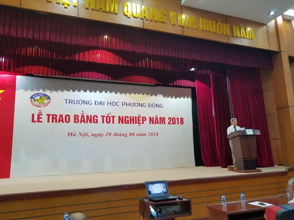 Gs ts Nguyễn Tài, trưởng khoa Kiến trúc xD, Đh Phương Đông phát biểu tổng kết kết quả sinh viên tốt nghiệp năm 2018