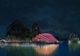 Rồng, đá và cánh buồm truyền cảm hứng  cho Nhà hát nổi Sceno Light ở Vịnh Hạ Long (Việt Nam)