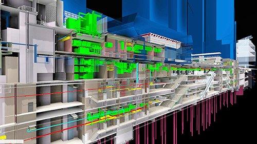 Hồ sơ BIM mô tả nhà ga MTR, trên nhà ga là Trung tâm thể thao. Dưới đường hầm là một tuyến đường MRT với các thiết bị cơ điện phức tạp trong một tổ hợp kiến trúc có nhiều chủ sở hữu cùng tham gia đầu tư xây dựng. BIM đã tạo điều kiện cho thiết kế và phối hợp đa ngành.