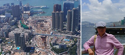 Công trường xây dựng ga MTR sát bờ biển. Tác giả trong chuyến tham quan - khảo sát Hong Kong tháng 7/2018