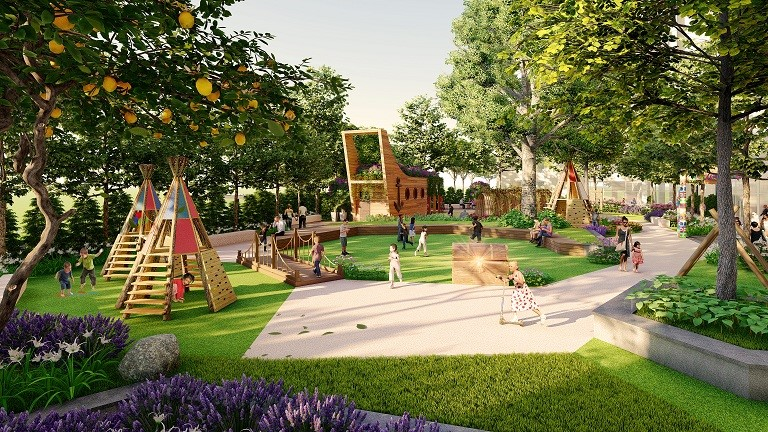 Anland Premium dành diện tích lớn cho cây xanh và sân chơi cho trẻ.