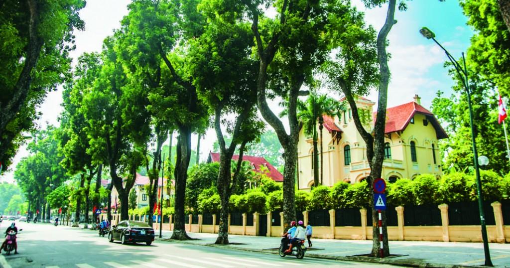 Nhà biệt thự dọc theo tuyến phố với kiểu kiến trúc đặc trưng khu phố cũ TP Hà Nội