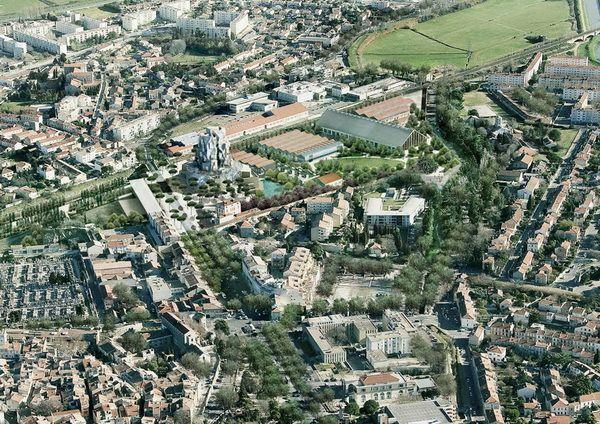Một hình ảnh mô phỏng bao gồm cả công viên công cộng được thiết kế bởi công ty kiến trúc cảnh quan