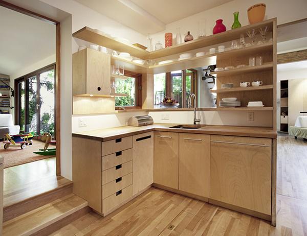 Cách bố trí tủ bếp thành 2 khối đối diện nhau giúp tối ưu diện tích trong bếp