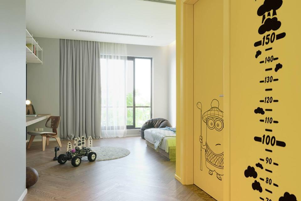 Phòng ngủ cho bé với gam màu vàng chủ đạo (Ảnh: Internet)