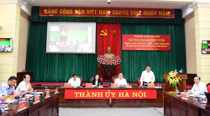 Chủ tịch UBND TP Hà Nội Nguyễn Đức Chung phát biểu tại Hội nghị.