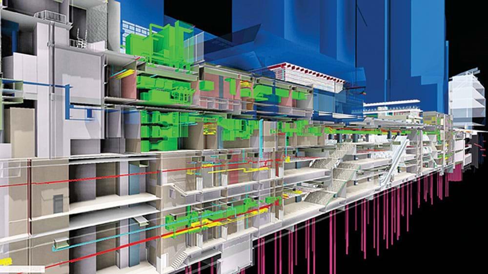Hồ sơ BIM mô tả nhà ga MTR, trên nhà ga là trung tâm thể thao. Dưới đường hầm là một tuyến đường MRT với các thiết bị cơ điện phức tạp trong một tổ hợp kiến trúc có nhiều chủ sở hữu cùng tham gia đầu tư xây dựng. BIM đã tạo điều kiện cho thiết kế và phối hợp đa ngành. Ảnh: TLTG