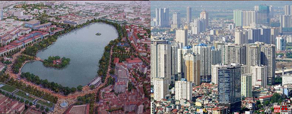 Phương án quy hoạch Hồ Gươm và vùng phụ cận do Nikken Seikkei đề xuất 2009 và hình ảnh nhà ở cao tầng phía Tây Hà Nội 2018. Ảnh: TLTG