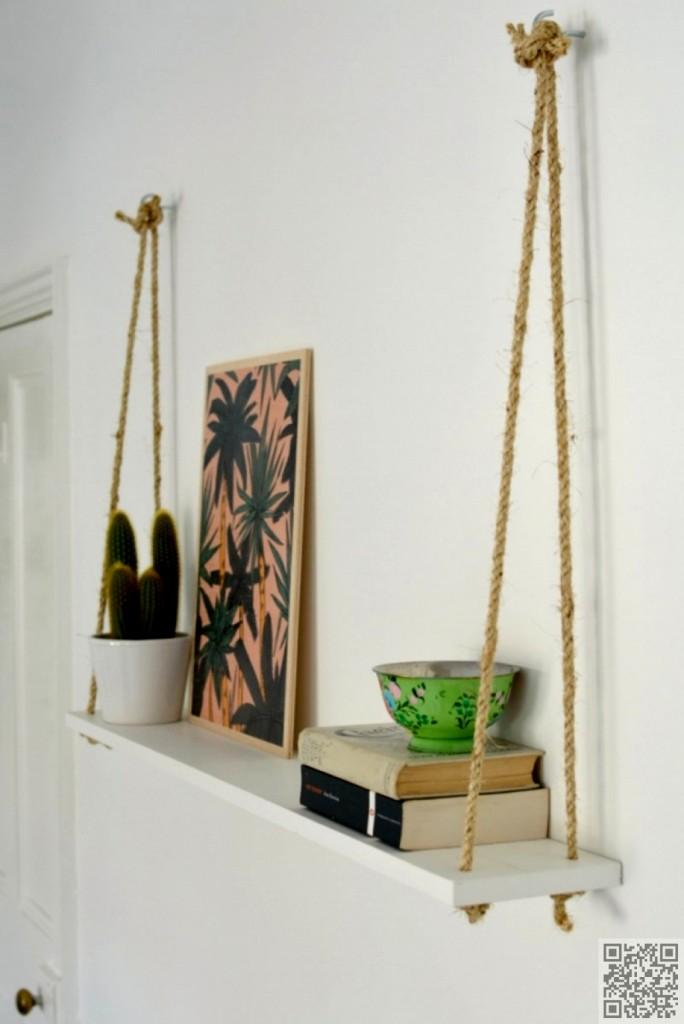Tận dụng những sợi dây thừng để làm giá treo đồ đạc không phức tạp như bạn tưởng.