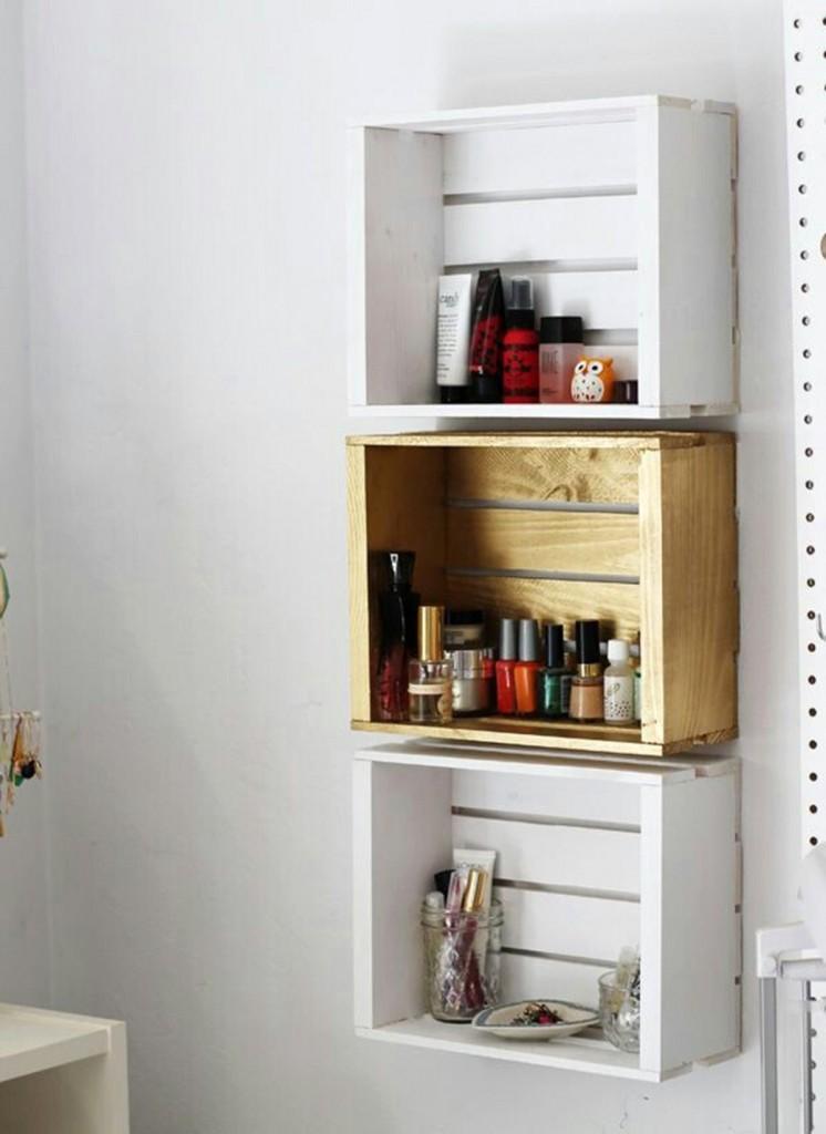 Ngại gì mà không tận dụng những mảnh gỗ thừa để tạo thành hộp để đồ và treo chúng lên tường.