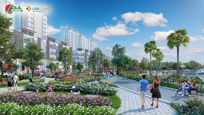 Khai Sơn Town có tổng diện tích 9,3 hec-ta, với mật độ xây dựng khoảng 37%, bao gồm 210 căn nhà phố thương mại Shophouse, trường học, công viên trung tâm, hồ điều hòa… cùng nhiều tiện ích khác.