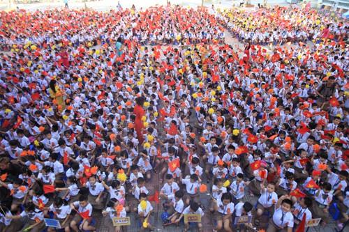 Lễ khai giảng năm học 2018 của trường tiểu học Chu Văn An, quận Hoàng Mai, Hà Nội. Ảnh: Gia Chính.