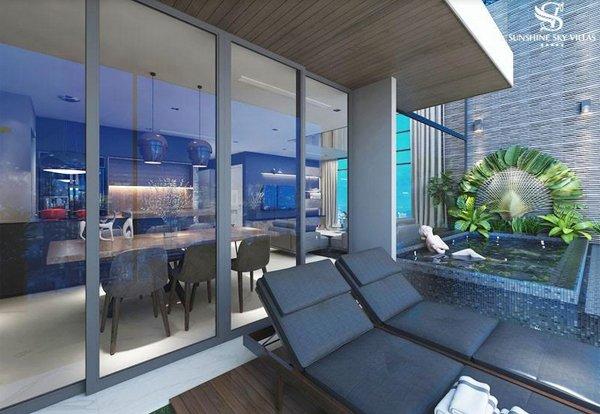 Kế thừa thiết kế của mô hình biệt thự truyền thống, Sky Villas cũng sở hữu đặc quyền riêng tư nổi trội hơn hai sản phẩm còn lại