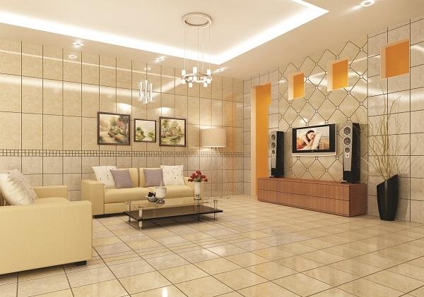 Có thể chọn gạch ốp phòng khách có gam màu trung tính, đồng nhất với gam màu của nội thất.