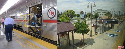 ĐSQG Mỹ xuyên qua các TP tiếp cận đường phố gần gũi giống như ga ĐSĐT: hộp bán vé tự động, ghế ngồi chờ và lối lên xuống an toàn. Toa tầu lớn 2 tầng có thiết bị nâng hạ xe đẩy cho người tàn tập và xe đạp. Nguồn Hanoidata