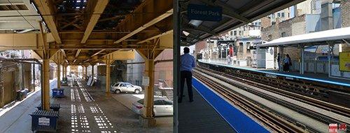 Tuyến ĐSQG chuyển đổi thành ĐSĐT: Blue Line dài hơn 43km nối Chicago với sân bay O'Hare, xây năm 1895 hiện đại hóa năm 1993. Kết cấu thép cũ bảo trì tốt cổ kính nhưng bền vững; nhà ga và toa tàu hiện đại hóa/tự động hóa hoàn toàn