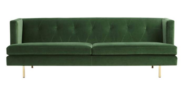 Ghế sofa nhung màu xanh rêu chẳng bao giờ lỗi mốt.