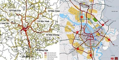 Bản đồ các tuyến đường bộ quanh trung tâm Hà Nội có nguy cơ tắc nghẽn các cấp độ: kết quả đầu tư  hàng ngàn tỷ đồng/năm cho đường bộ không thành công. Đề xuất của Citysolution2018: tích hợp ĐSĐT và ĐSQG để hỗ trợ giải cứu ách tắc giao thông nội đô Hà Nội. Nguồn Hanoidata
