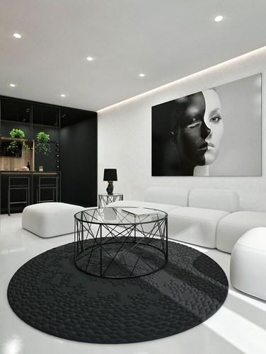 Các màu đen, trắng và xám là một sự pha trộn dễ chịu, với một tấm thảm dệt bằng tay mang lại yếu tố thẩm mỹ, cây xanh tạo thêm sức sống cho căn phòng và cuối cùng ghế sofa màu trắng là một nơi thích hợp để thư giãn