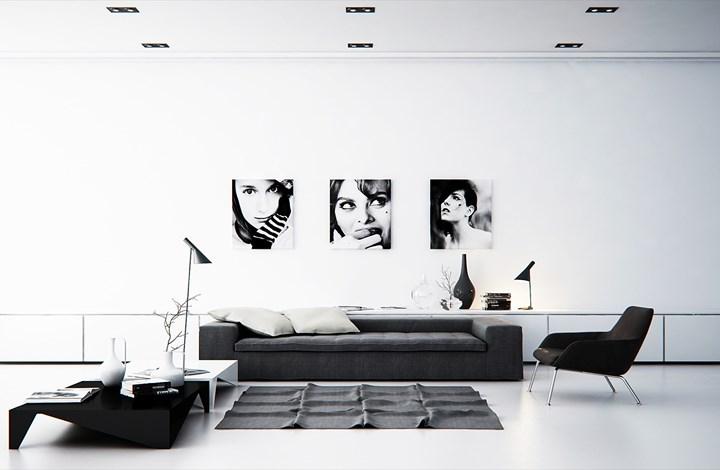 Các bức tường trắng, đồ nội thất màu đen/xám tạo nên sự tương phản đẹp và hợp lý