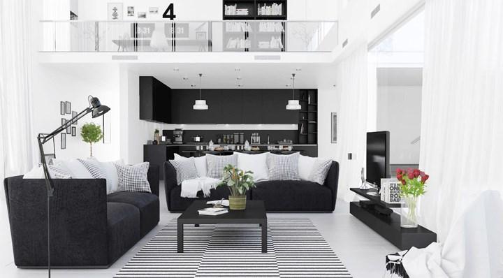 Kiến trúc phòng khách chia thành hai phần, màu đen xuất hiện trước làm nền để làm nổi bật màu trắng của nội thất bên trên