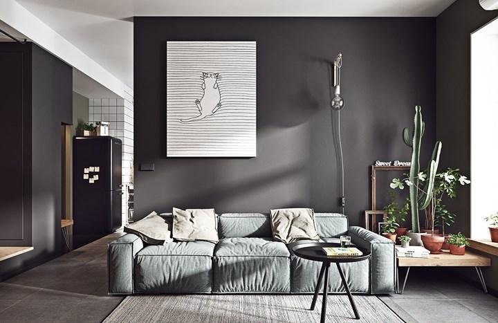 Không chỉ có trong phòng khách của biệt thự hay những ngôi nhà lớn, kể cả những căn hộ nhỏ nếu biết chọn nội thất màu đen-trắng khéo léo bạn cũng sẽ có một chốn đi về lý tưởng