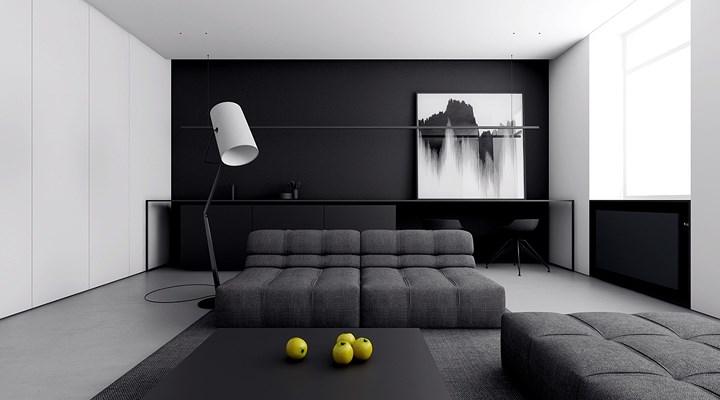 Phòng khách mang phong cách tối giản với hai màu sắc cơ bản là trắng và đen