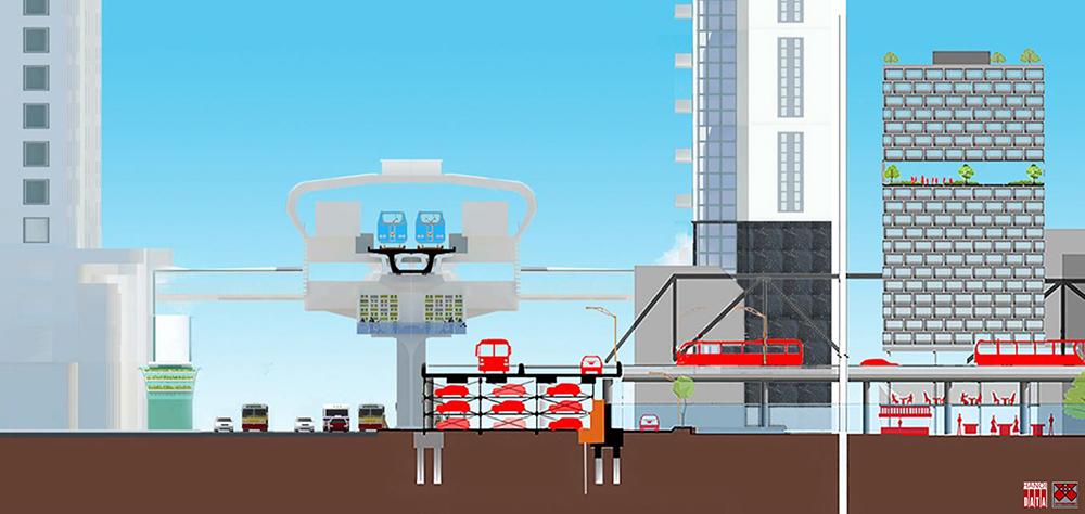 Ga C9 trên cao tiếp cận linh hoạt đường phố và khu dân cư bên trong phố cũng như ngoài đê kết hợp gia cố đê bê tông và chỗ đỗ xe - Đề xuất của City Solution2018