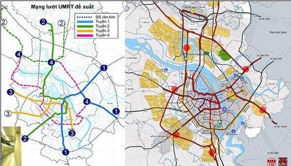 Sơ đồ mạng lưới UMRT trong tài liệu HAIDEP công bố 2006: các tuyến đường sắt số 1,2,3 thực hiện cho đến năm 2018 cơ bản theo sơ đồ này; Tích hợp ĐSĐT với ĐSQG Citysolution đề xuất 2018 - Nguồn: Hanoidata