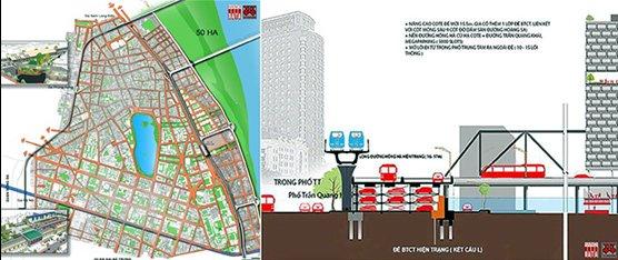 Tuyến ĐSĐT số 1 tích hợp đồng trục với ĐSQG, tuyến số 2 trên cao và tuyến 3 đi ngầm dưới phố Trần Hưng Đạo do Citysolution đề xuất 2018 - Nguồn: Hanoidata