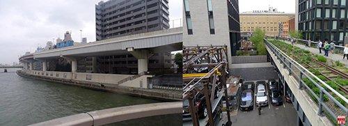 Đường trên cao bên sông tại Tokyo: sát sông là con đê bê tông, phía sau đê là bãi đỗ xe dưới gầm cầu (2010); Parking 5 tầng bên dưới và bên cạnh tuyến đường sắt đô thị đã hoán cải thành công viên trên cao tại New York (2018).