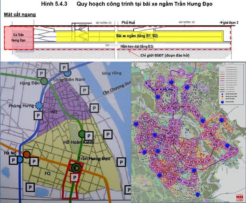 Tư vấn nước ngoài đề xuất phương án các bãi đỗ xe trong trung tâm Hà Nội. Bãi đỗ xe ngầm đào mấy tầng hầm dài hàng trăm mét tại ngã tư Phố Huế - Trần Hưng Đạo chỉ đủ chỗ 100 ô tô và 560 xe máy. Quy hoạch trong nước bố trí bãi đỗ xe như rắc vừng khắp trung tâm TP: phi kỹ thuật và phi kinh tế. Nguồn Hanoidata