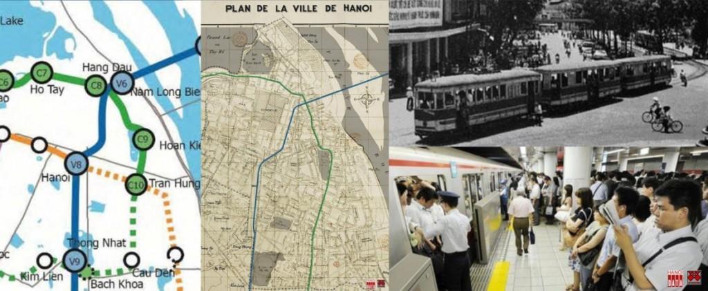 H1: Sơ đồ tuyến ĐSĐT số 2 đi qua Hồ Gươm trùng khớp với đường tàu điện trên mặt đất Hà Nội xây dựng từ 1900; Ga tàu điện bên Hồ Gươm (1970) và ga tàu điện ngầm Tokyo, Nhật Bản (2010)