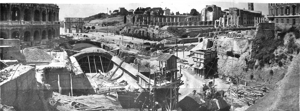 Hình 1: Đường tàu điện ngầm Line B ở Rome. Công trường nằm ngay chân đấu trường Colosseum và cổng Constantine (Nguồn: PERRONE)