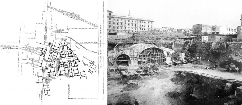 Hình 2: Mặt bằng nhà ga Termini, hệ thống tàu điện ngầm đã quét qua 1 phần khu vực khảo cổ giá trị (trái), Ảnh công trường xây dựng phía sau tường thành Servius (Nguồn: PERONE)