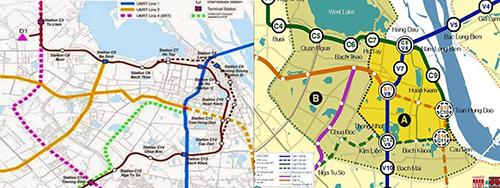 H2: Phương án dịch tuyến 2 về phía đê Hà Nội do BQL trưng bày và nêu lý do không lựa chọn; Phương án chuyển tuyến và kết nối các tuyến ĐSĐT đi qua trung tâm Hà Nội.