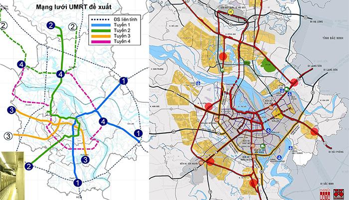 Hình 3: Sơ đồ mạng lưới ĐSĐT trong tài liệu HAIDEP công bố 2006: các tuyến đường sắt số 1, 2, 3 thực hiện cho đến năm 2018 cơ bản theo sơ đồ này; Phương án do Citysolution đề xuất tích hợp ĐSĐT với ĐSQG, đi ngầm qua sông Hồng, tiếp cận các khu đô thị phát triển mạnh Bắc sông Hồng
