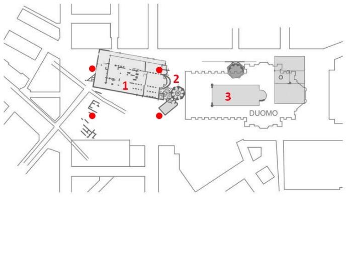 Hình 6: Mặt bằng khảo cổ khu vực nhà thờ lớn Milan 1.Vị trí nhà nguyện San Tecla 2.Vị trí nhà rửa tội San Giovanni 3.Quần thể nhà thờ lớn Milan • (Chấm đỏ): vị trí các cổng lên từ ga tàu điện ngầm Duomo