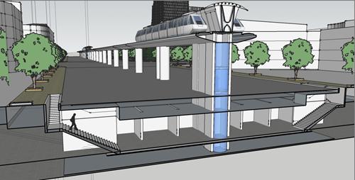 Hình 4. Mô hình nhà ga ngầm phục vụ đường sắt trên cao, kết hợp với ngầm bộ hành và cung ứng dịch vụ.