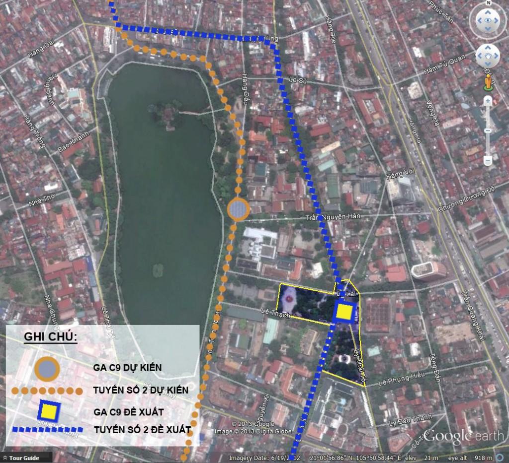 Hình 6. Sơ đồ gợi ý vị trí đặt ga C9 và tuyến Metro 2